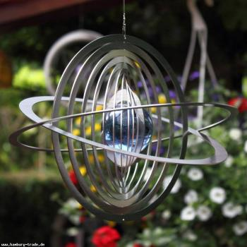 Windspiel Saturn mit Glaskugel aus Metall