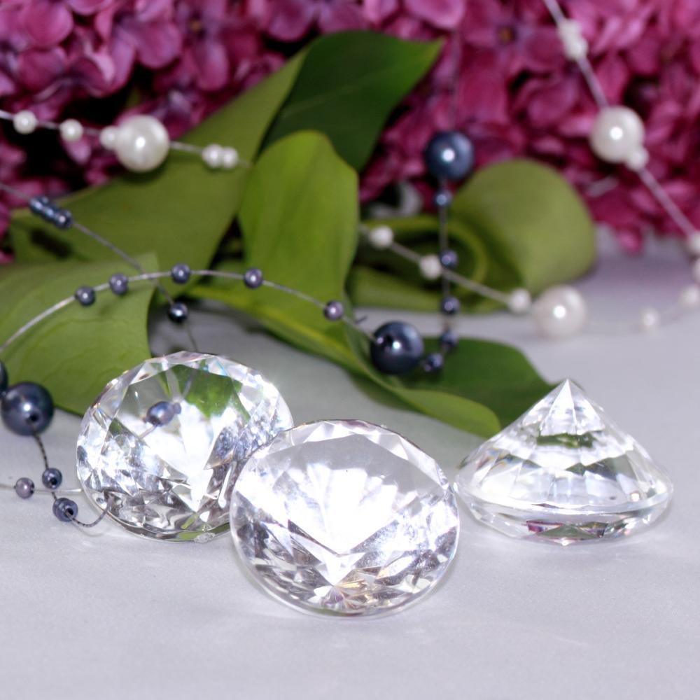30 Deko-Diamanten Gr/ö/ße 30mm Blau Transparent
